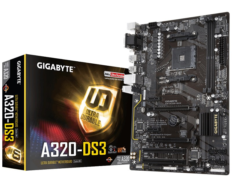Gigabyte GA-A320-DS3 AM4 Ryzen DDR4 Dvi-D Usb3.1
